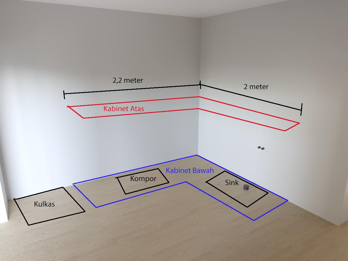 ukuran dan desain kasar dapur