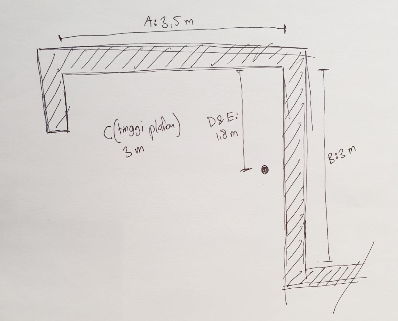 sketsa kasar ukuran kitchen set